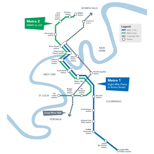 Brisbane Metro network map - June 2020 - green and blue
